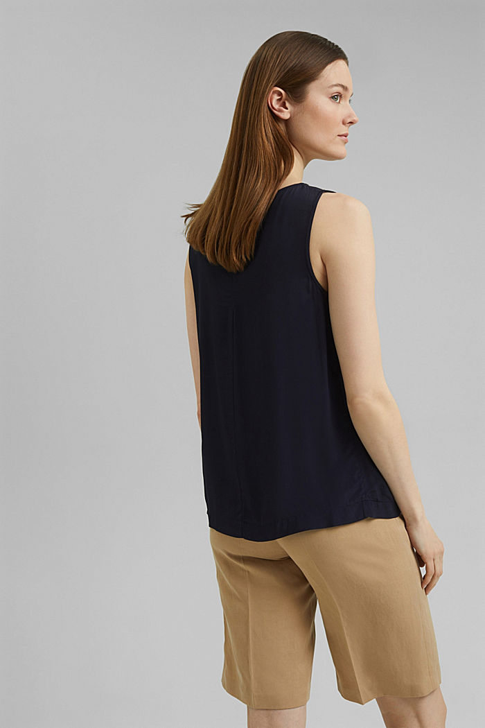 Flowy blouse in a basic design, NAVY, detail image number 3