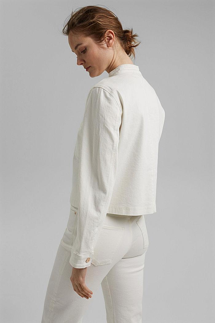 Denim jack van biologisch katoen met stretch, OFF WHITE, detail image number 3