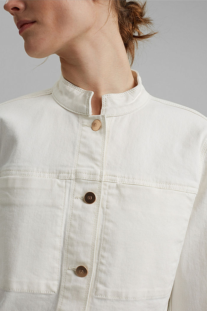 Denim jacket made of organic cotton with stretch, OFF WHITE, detail image number 2
