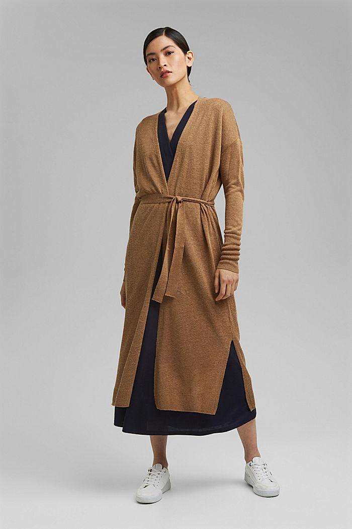 Linen blend: long cardigan with a belt, BARK, detail image number 0