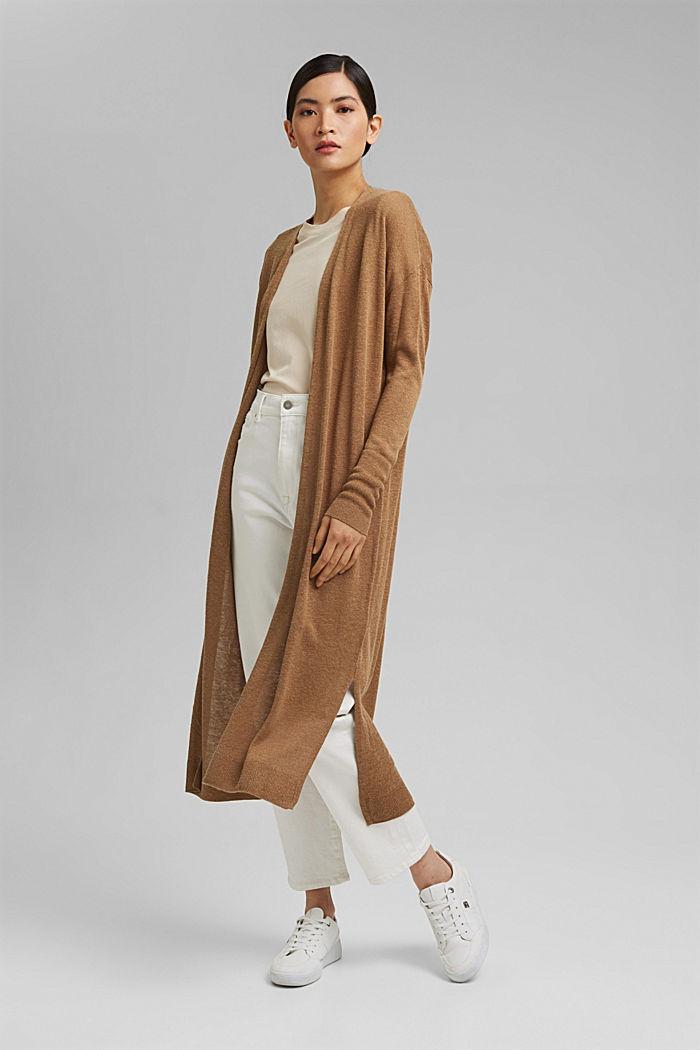 Linen blend: long cardigan with a belt, BARK, detail image number 5