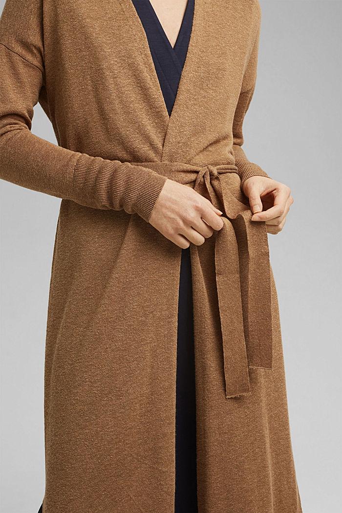 Linen blend: long cardigan with a belt, BARK, detail image number 2