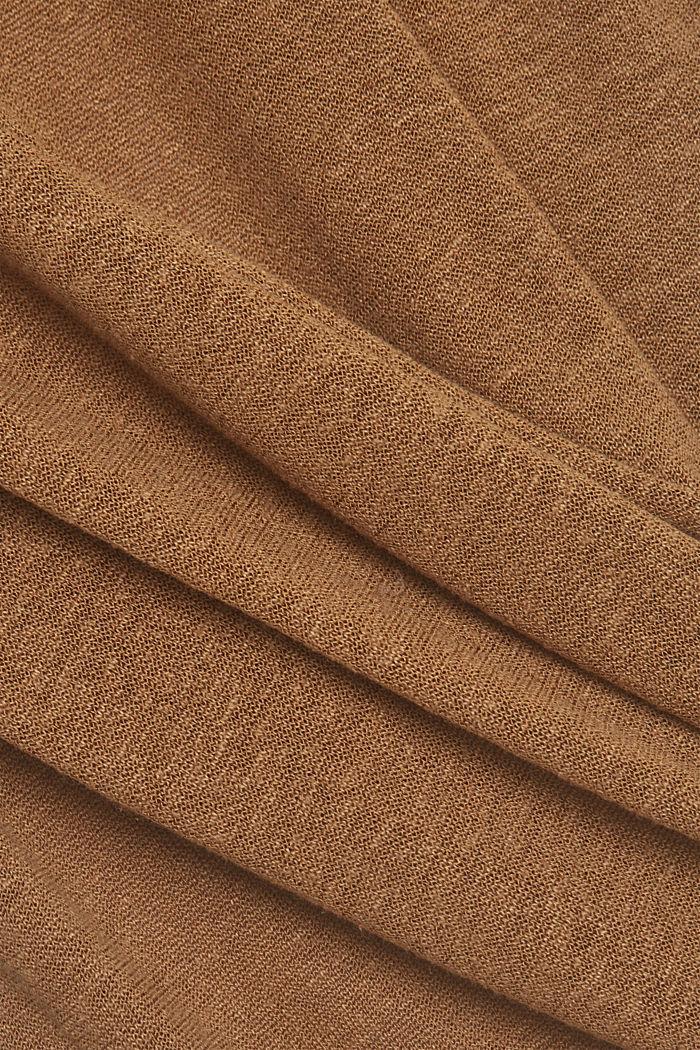 Linen blend: long cardigan with a belt, BARK, detail image number 4