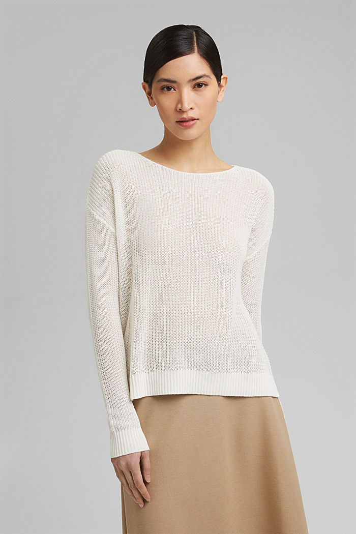 Linen blend: airy knit jumper, OFF WHITE, detail image number 0
