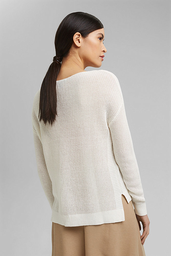 Linen blend: airy knit jumper, OFF WHITE, detail image number 3