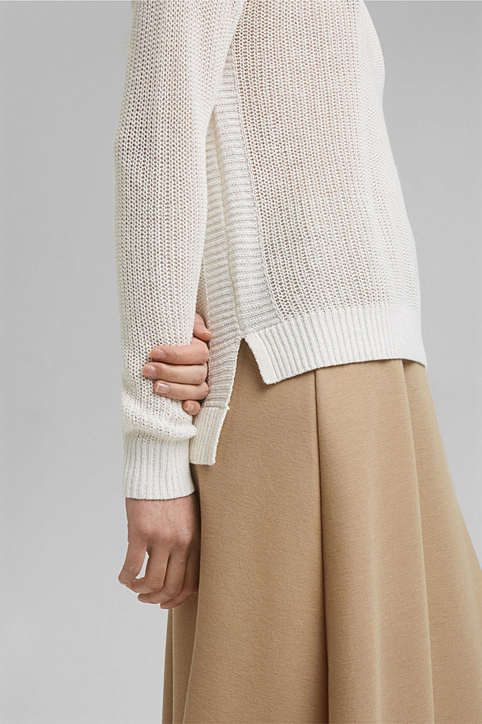 Linen blend: airy knit jumper, OFF WHITE, detail image number 2
