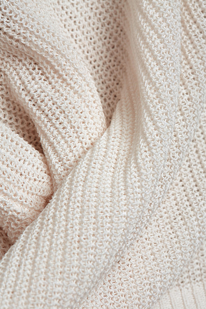 Linen blend: airy knit jumper, OFF WHITE, detail image number 4
