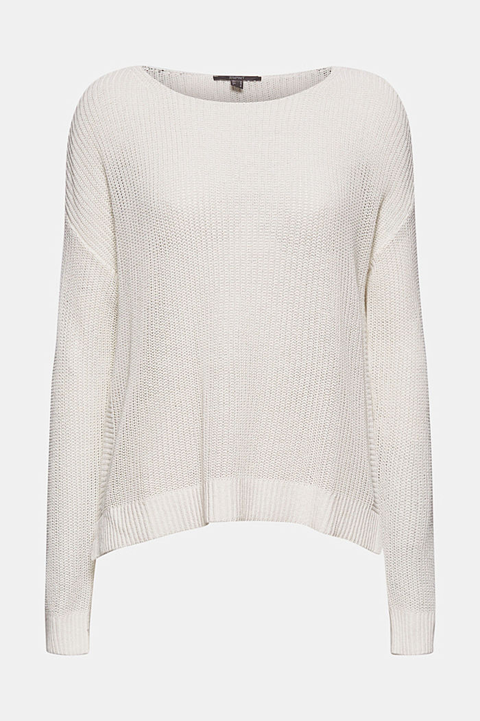 Linen blend: airy knit jumper, OFF WHITE, detail image number 5