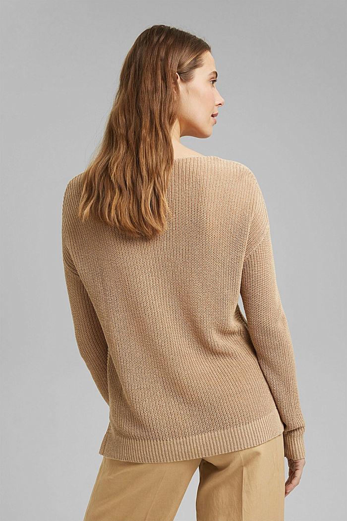 Met linnen: luchtig gebreide trui, SAND, detail image number 3