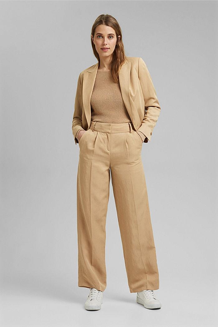Met linnen: luchtig gebreide trui, SAND, detail image number 1
