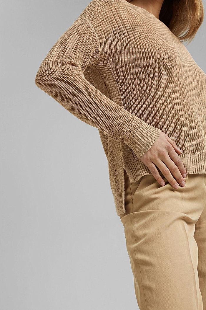 Met linnen: luchtig gebreide trui, SAND, detail image number 2