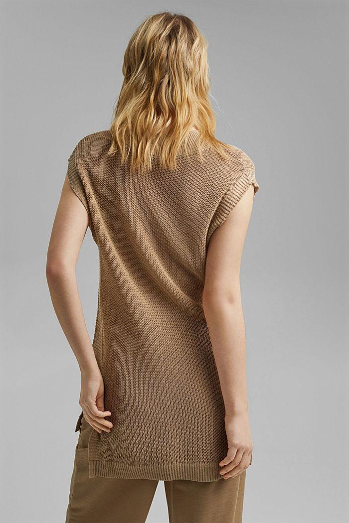 Con lino: chaleco con escote en pico, SAND, detail image number 3
