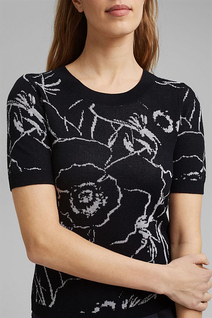 Pulovr s krátkým rukávem, z žakárové pleteniny, BLACK, detail image number 2