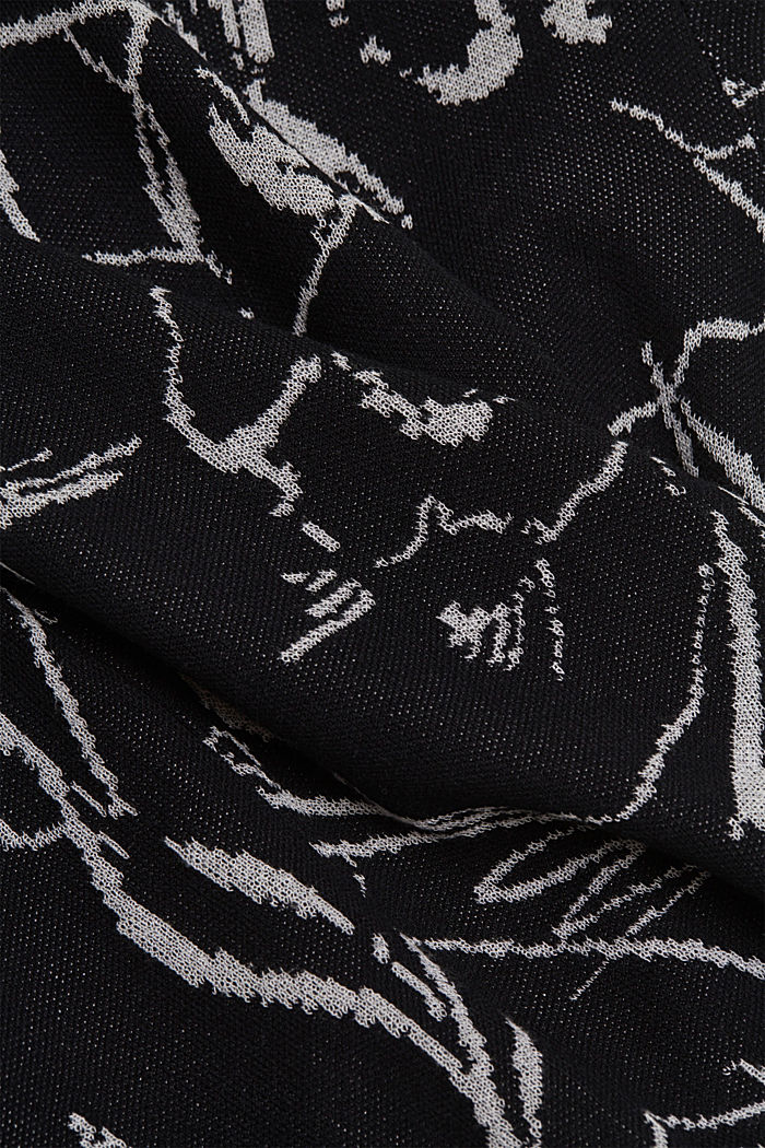 Pulovr s krátkým rukávem, z žakárové pleteniny, BLACK, detail image number 4
