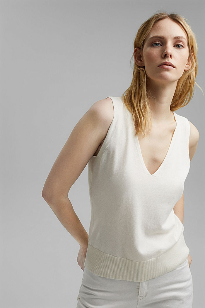 Knitted top with LENZING™ ECOVERO™, OFF WHITE, detail image number 0