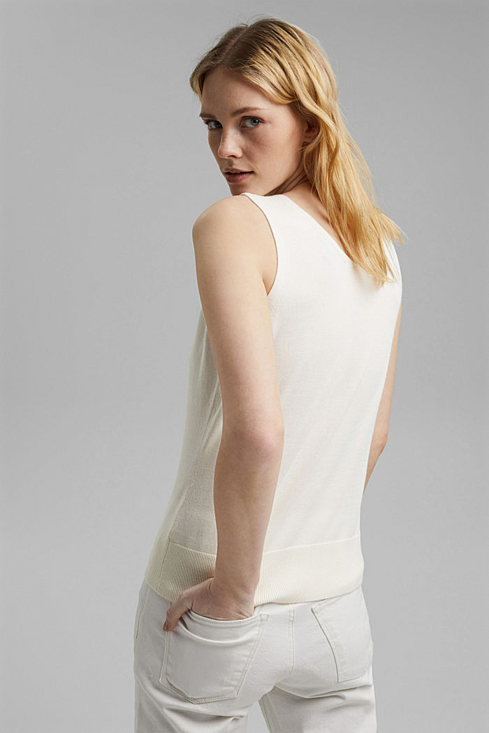 Knitted top with LENZING™ ECOVERO™, OFF WHITE, detail image number 3