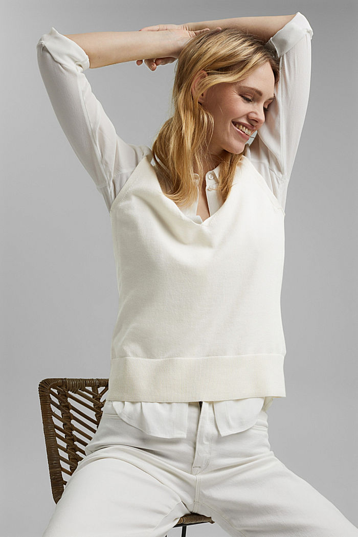 Knitted top with LENZING™ ECOVERO™, OFF WHITE, detail image number 5