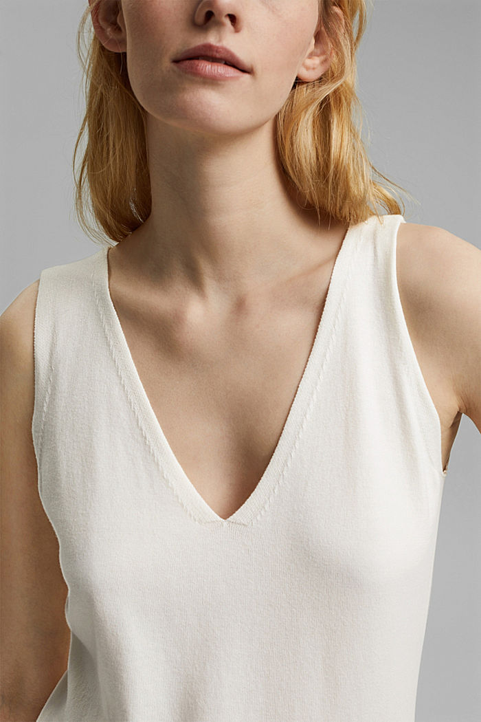 Knitted top with LENZING™ ECOVERO™, OFF WHITE, detail image number 2