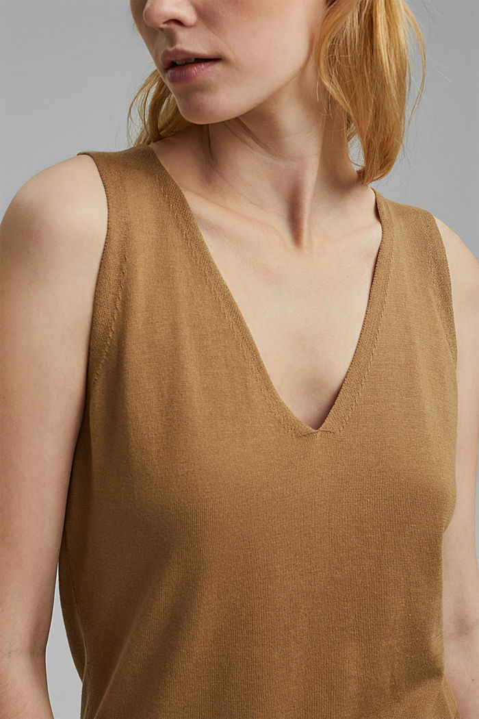 Knitted top with LENZING™ ECOVERO™, BARK, detail image number 2