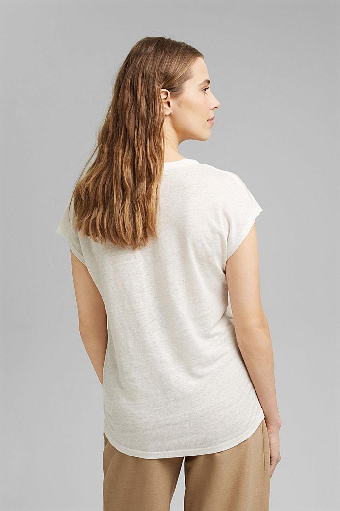 Aus Leinen: Print-T-Shirt, OFF WHITE, detail image number 3