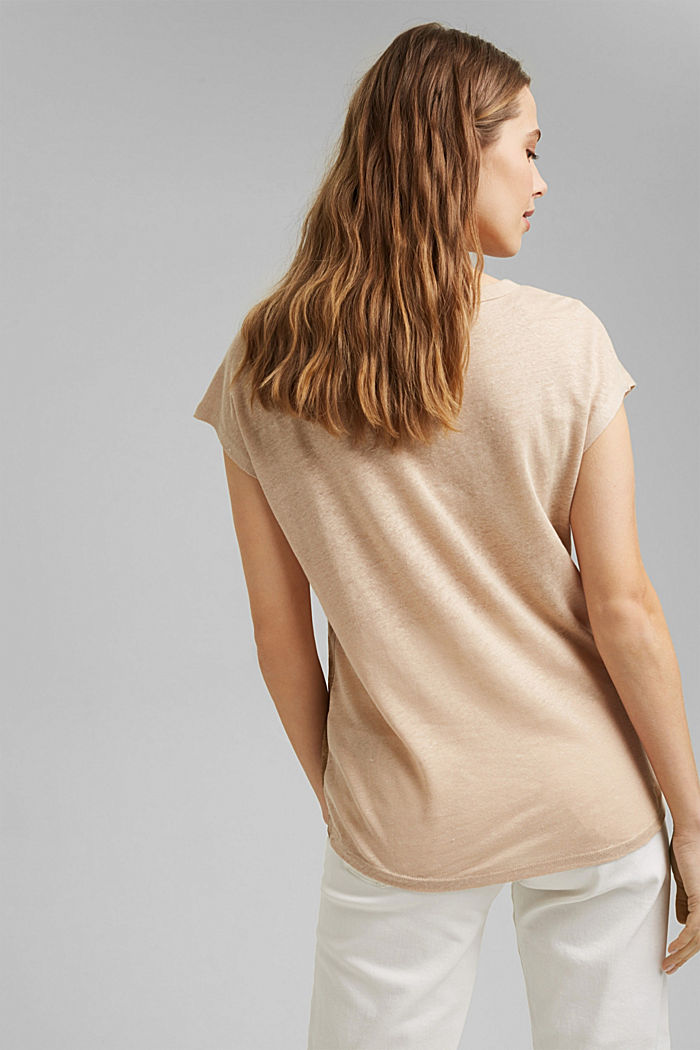 Made of linen: printed T-shirt, DUSTY NUDE, detail image number 3