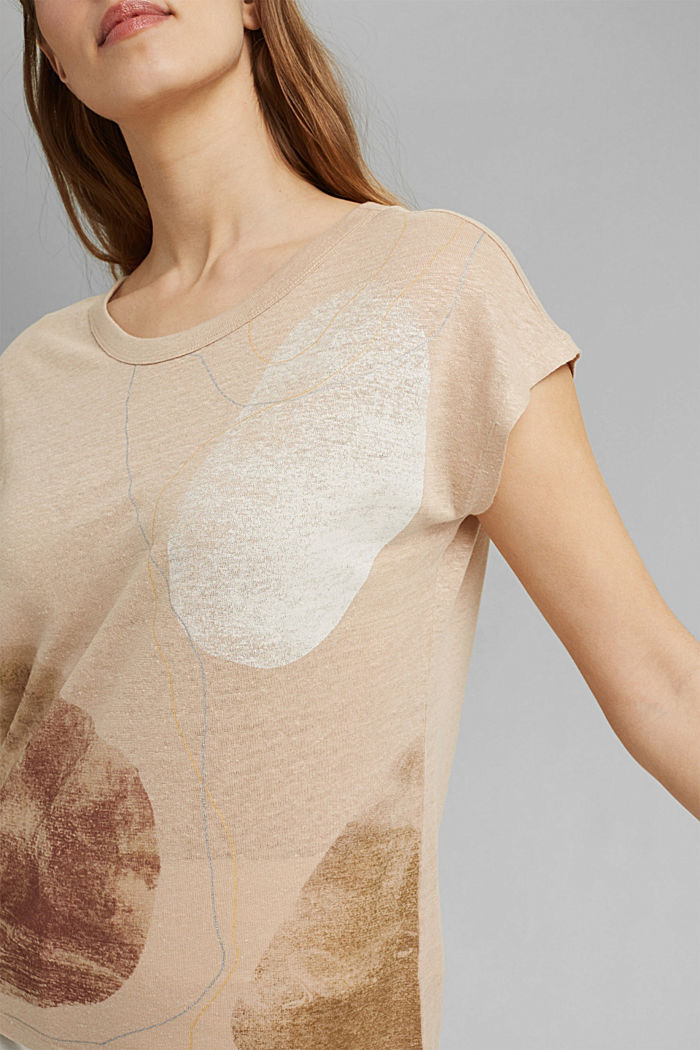 Made of linen: printed T-shirt, DUSTY NUDE, detail image number 2