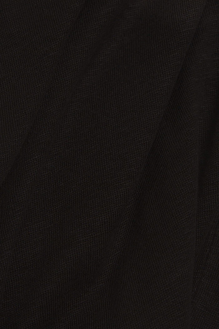 Linen: T-shirt with a polo collar, BLACK, detail image number 4