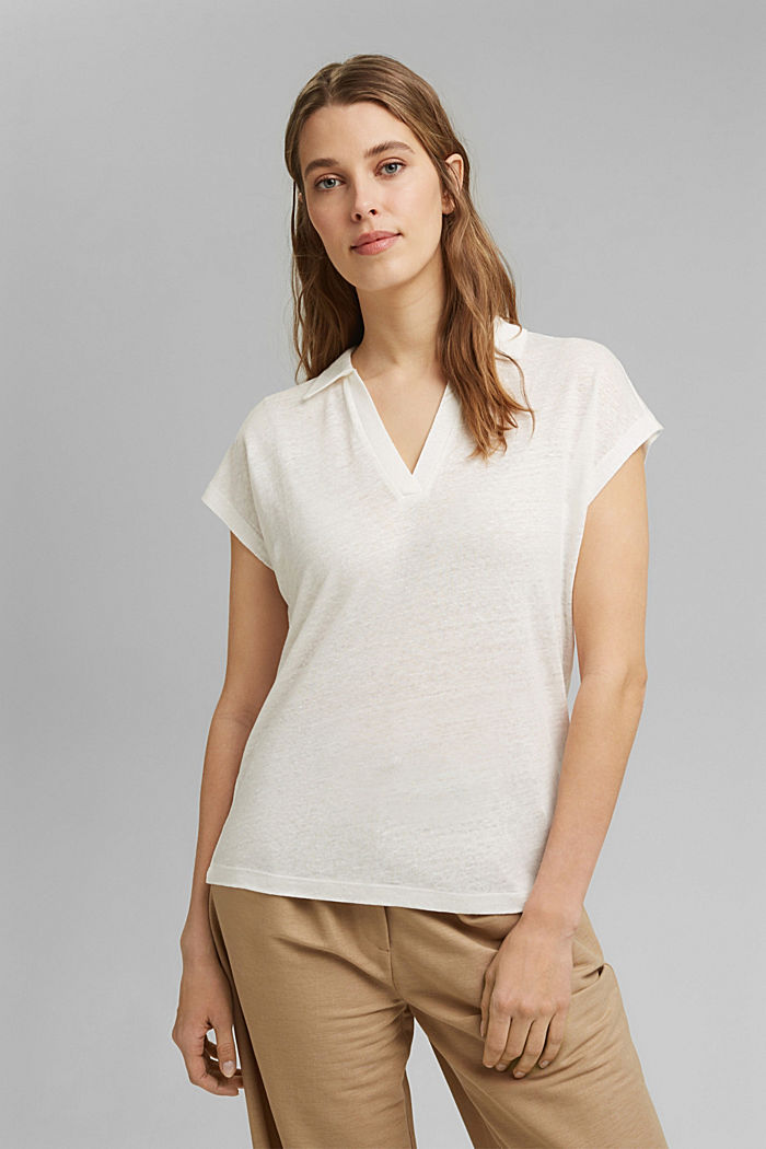 Linen: T-shirt with a polo collar, OFF WHITE, detail image number 0