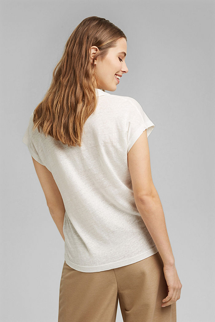 Linen: T-shirt with a polo collar, OFF WHITE, detail image number 3