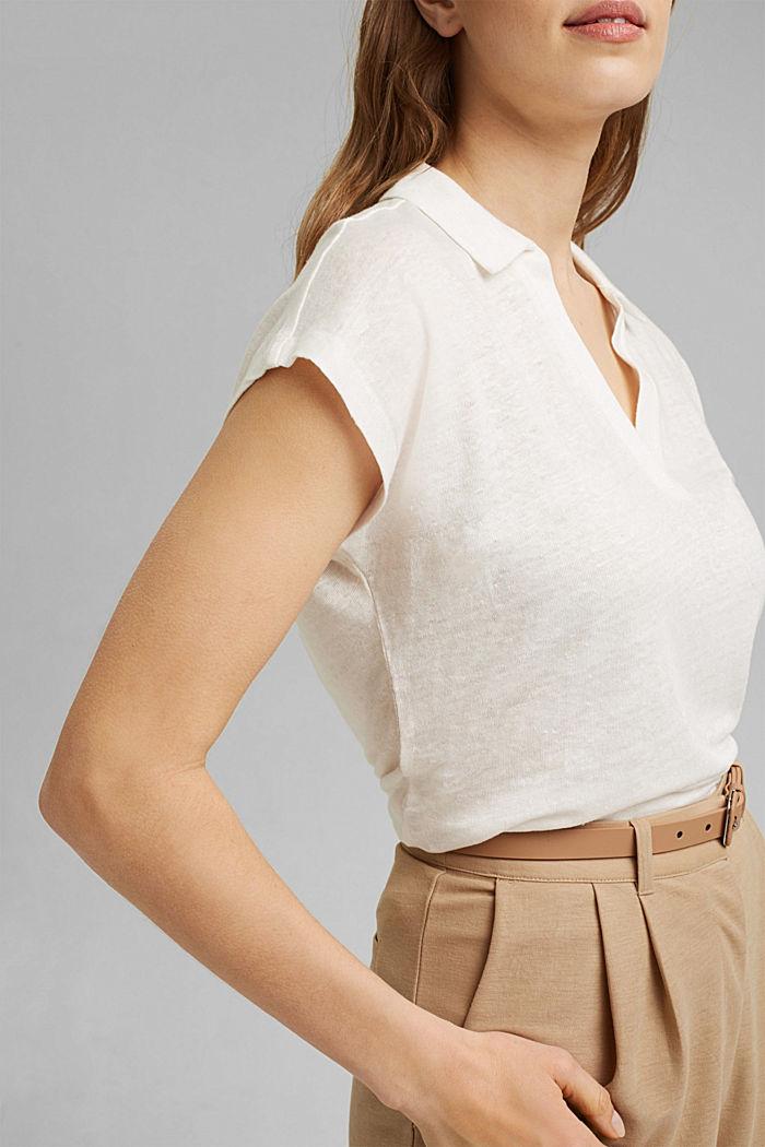 Leinen: T-Shirt mit Polokragen, OFF WHITE, detail image number 2
