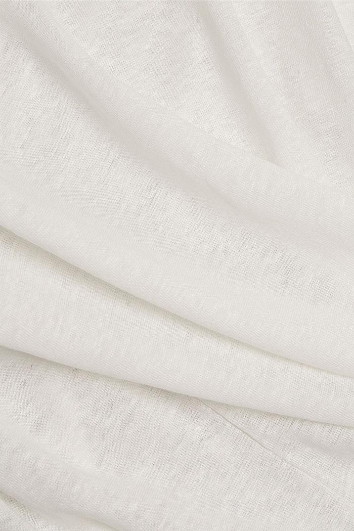 Leinen: T-Shirt mit Polokragen, OFF WHITE, detail image number 4