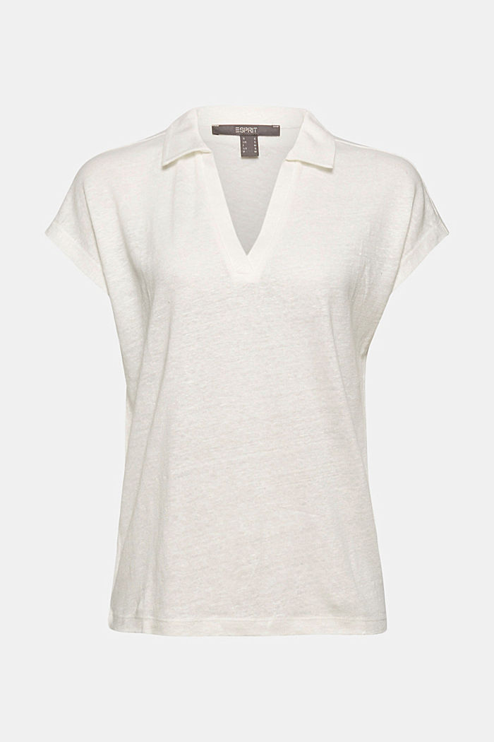 Linen: T-shirt with a polo collar, OFF WHITE, detail image number 5