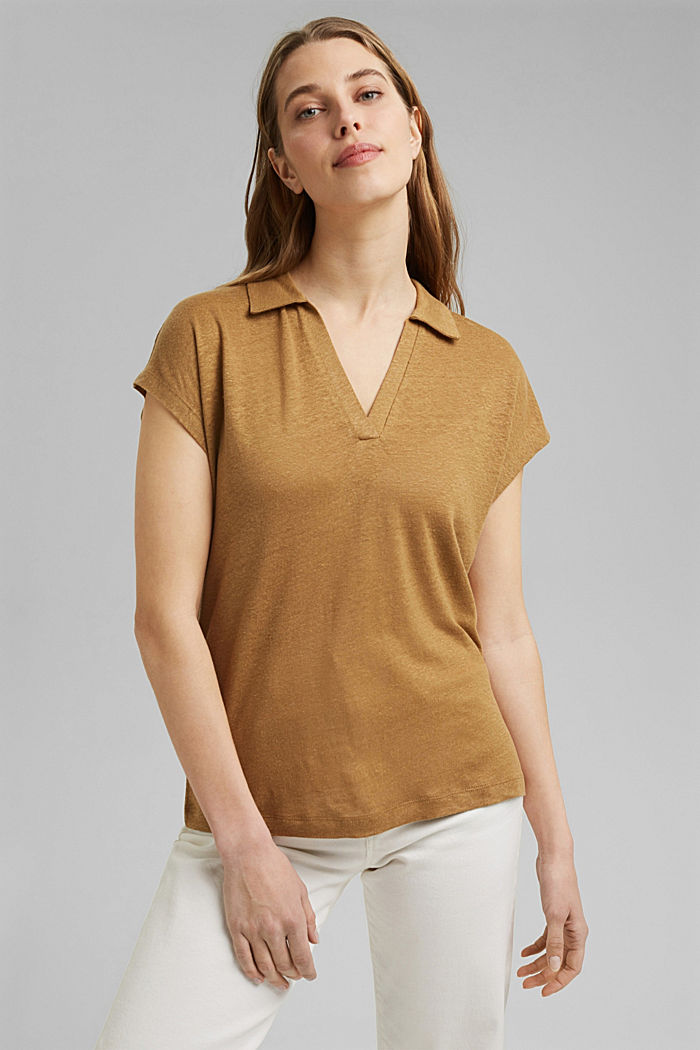 Linen: T-shirt with a polo collar, BARK, detail image number 0
