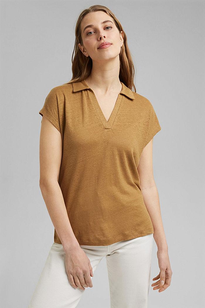 Linnen: T-shirt met polokraag, BARK, detail image number 0