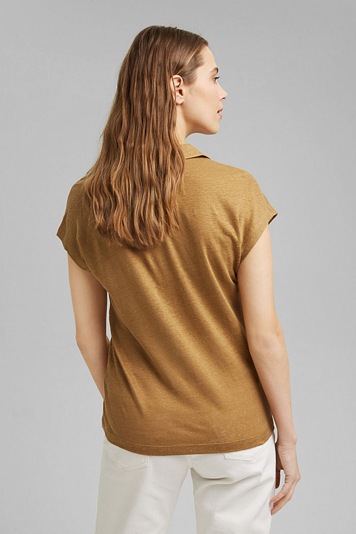 Linen: T-shirt with a polo collar, BARK, detail image number 3