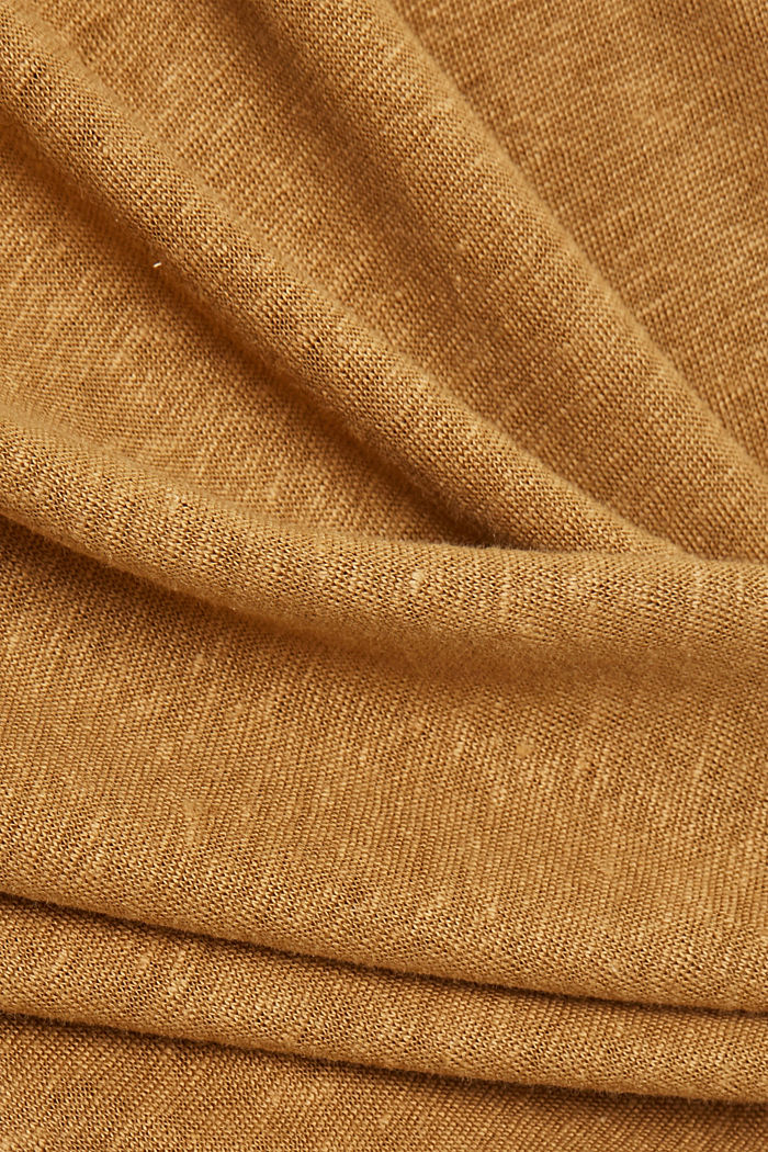 Linen: T-shirt with a polo collar, BARK, detail image number 4