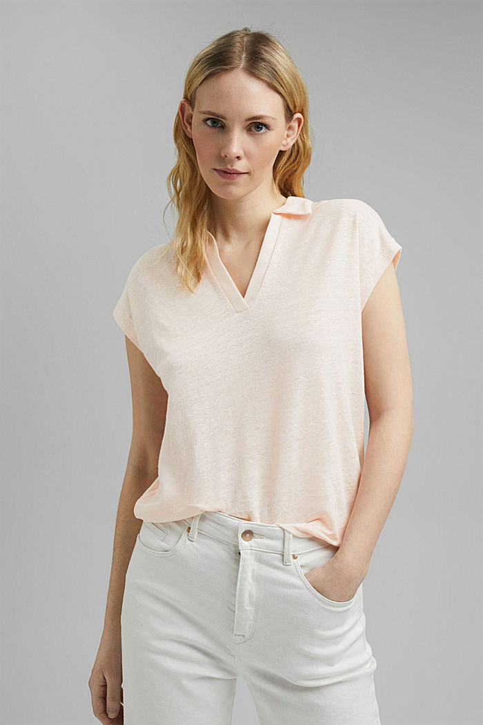 Linen: T-shirt with a polo collar, LIGHT PINK, detail image number 0
