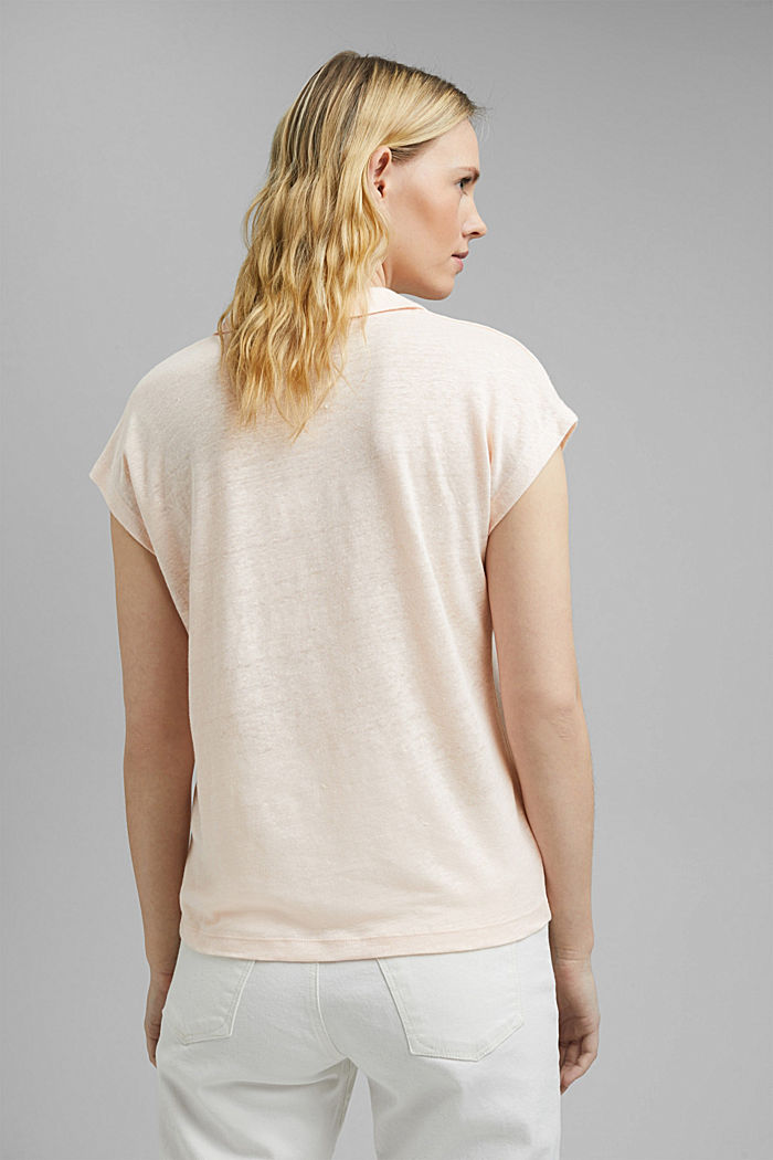 Linen: T-shirt with a polo collar, LIGHT PINK, detail image number 3