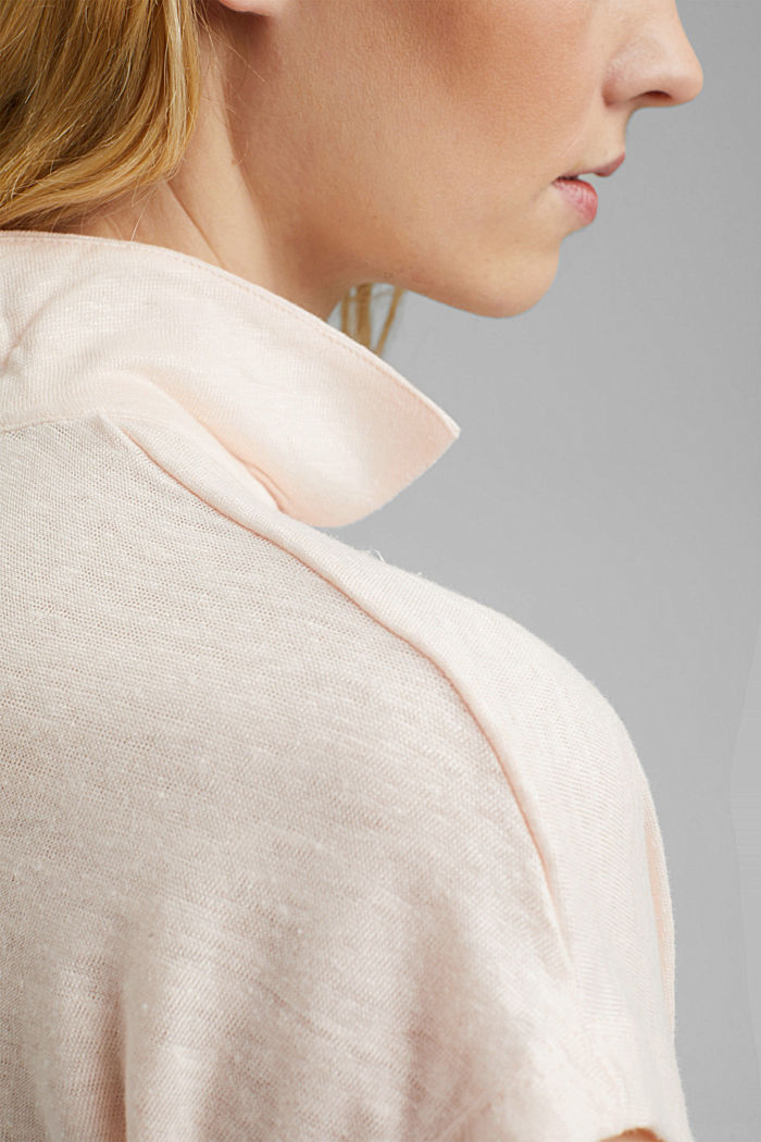Linen: T-shirt with a polo collar, LIGHT PINK, detail image number 2