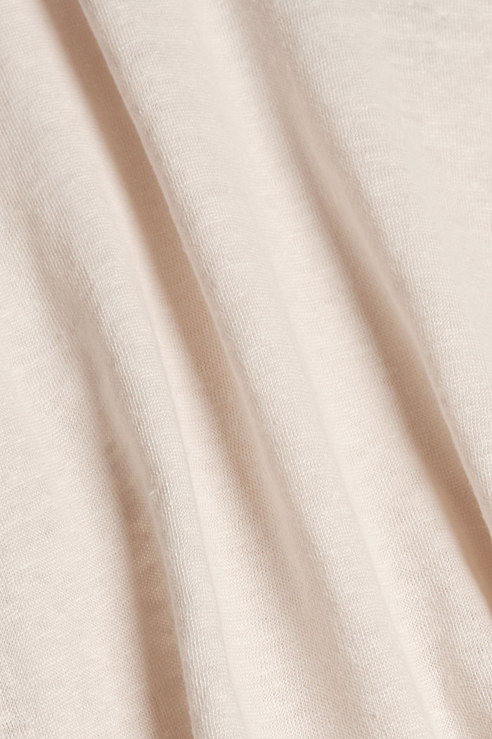 Linen: T-shirt with a polo collar, LIGHT PINK, detail image number 4