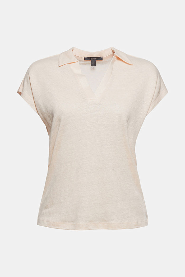 Linen: T-shirt with a polo collar, LIGHT PINK, detail image number 6