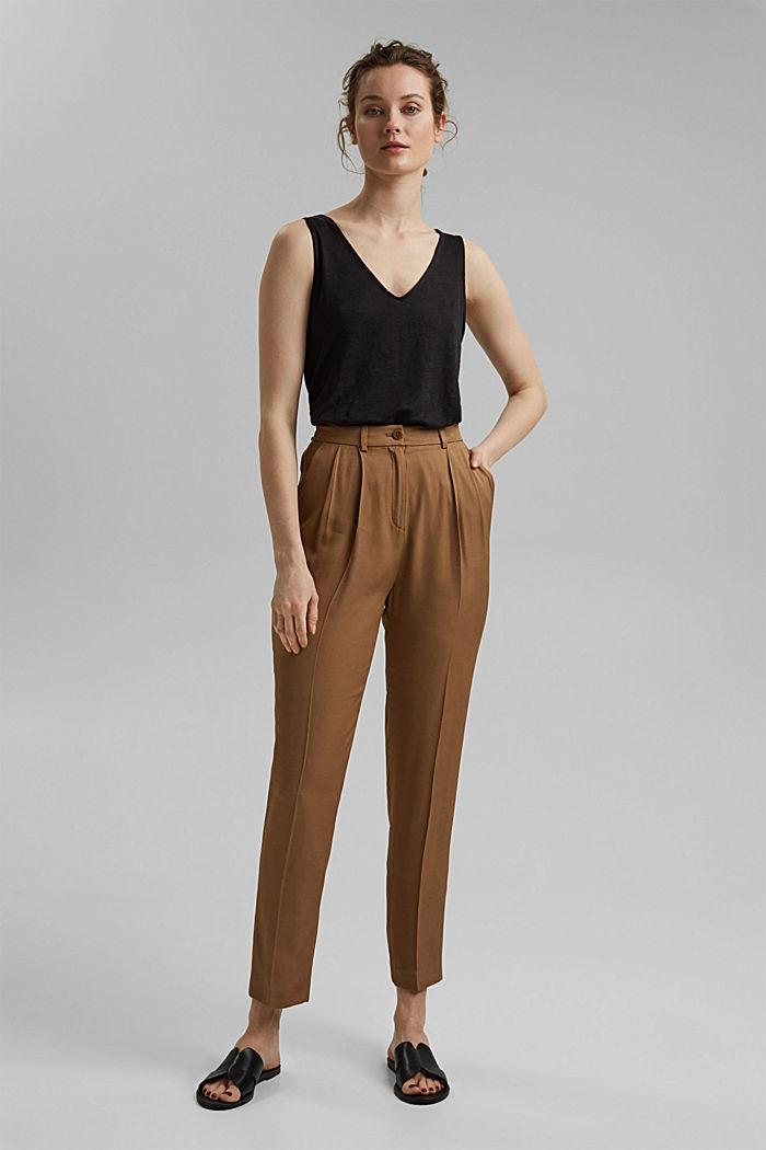 Made of 100% linen: V-neck sleeveless top, BLACK, detail image number 1