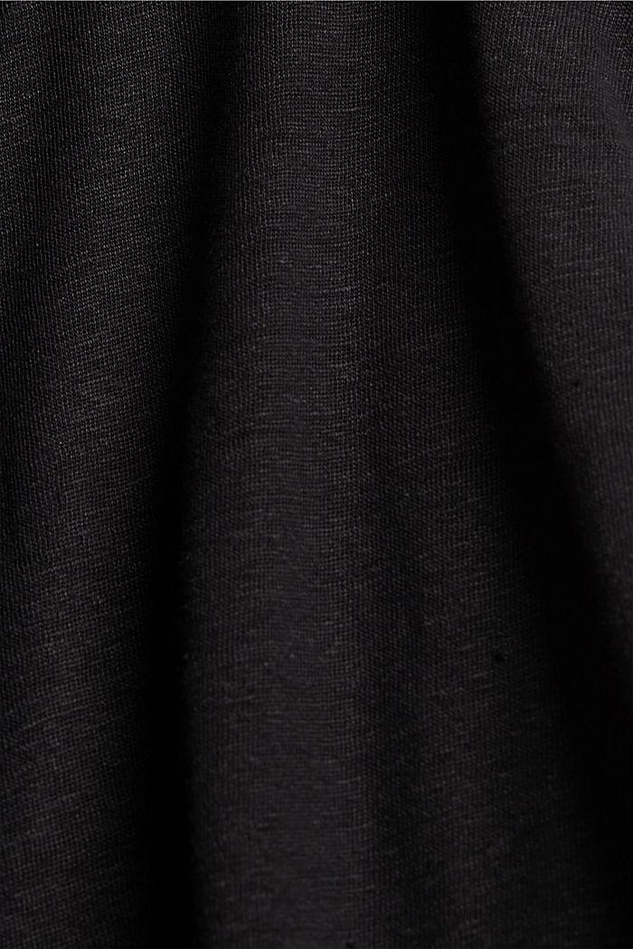 Made of 100% linen: V-neck sleeveless top, BLACK, detail image number 4