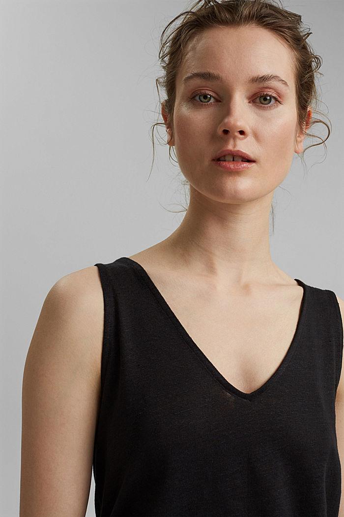 Made of 100% linen: V-neck sleeveless top, BLACK, detail image number 6