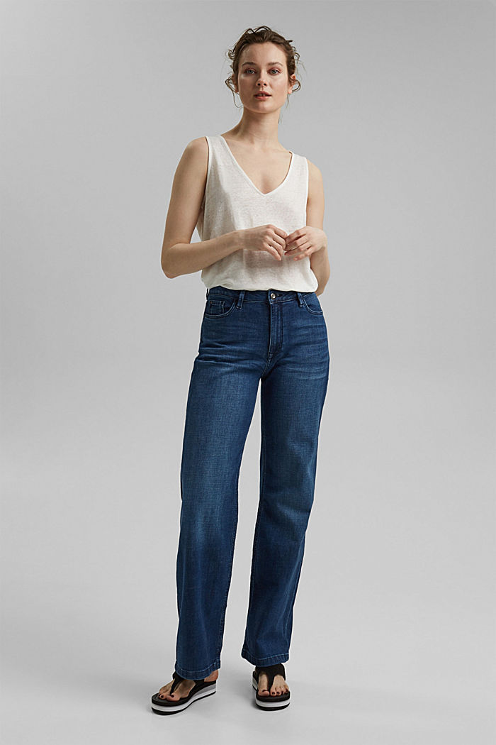 Made of 100% linen: V-neck sleeveless top, OFF WHITE, detail image number 1
