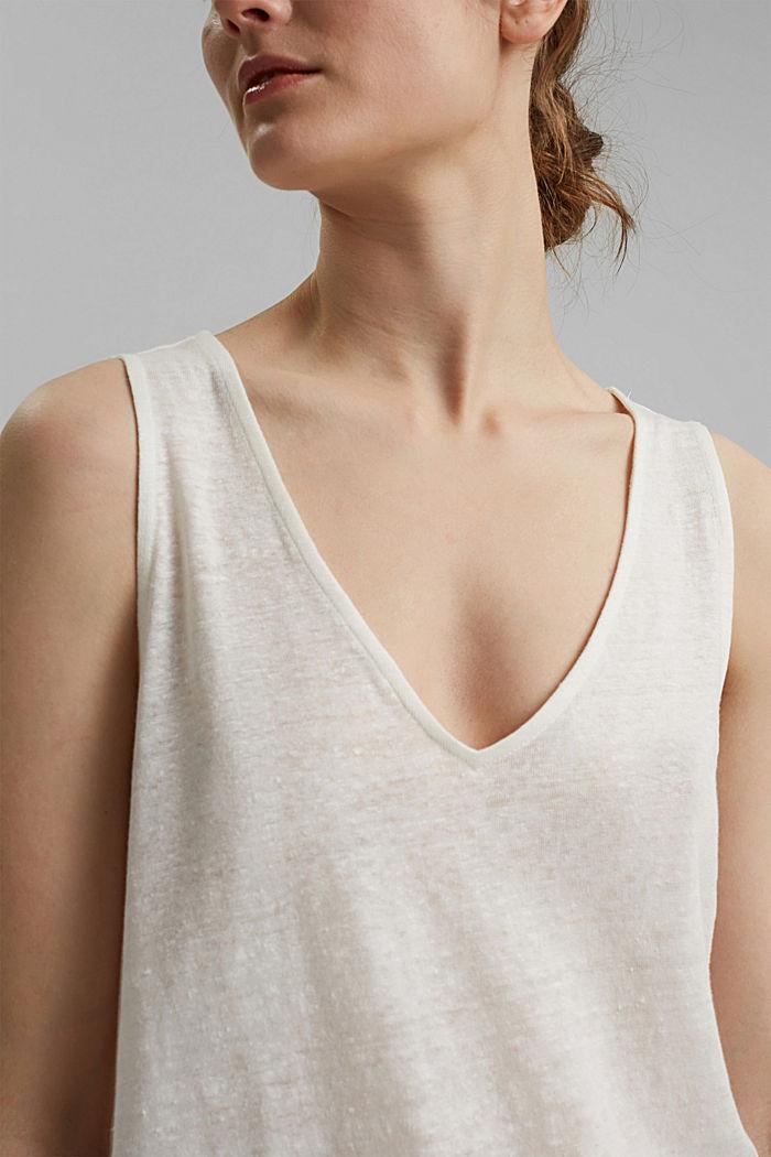 Made of 100% linen: V-neck sleeveless top, OFF WHITE, detail image number 2