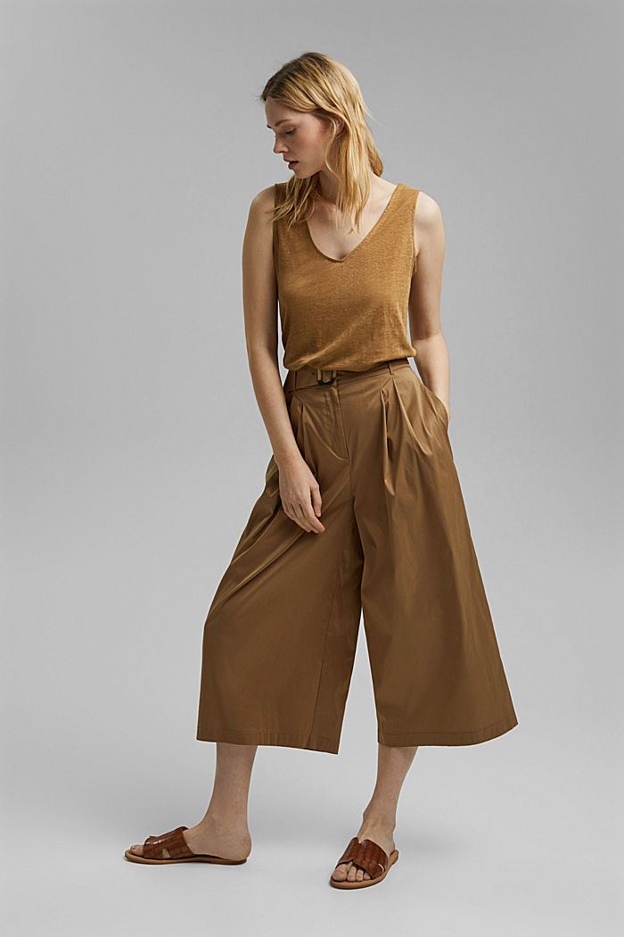 Made of 100% linen: V-neck sleeveless top, BARK, detail image number 1