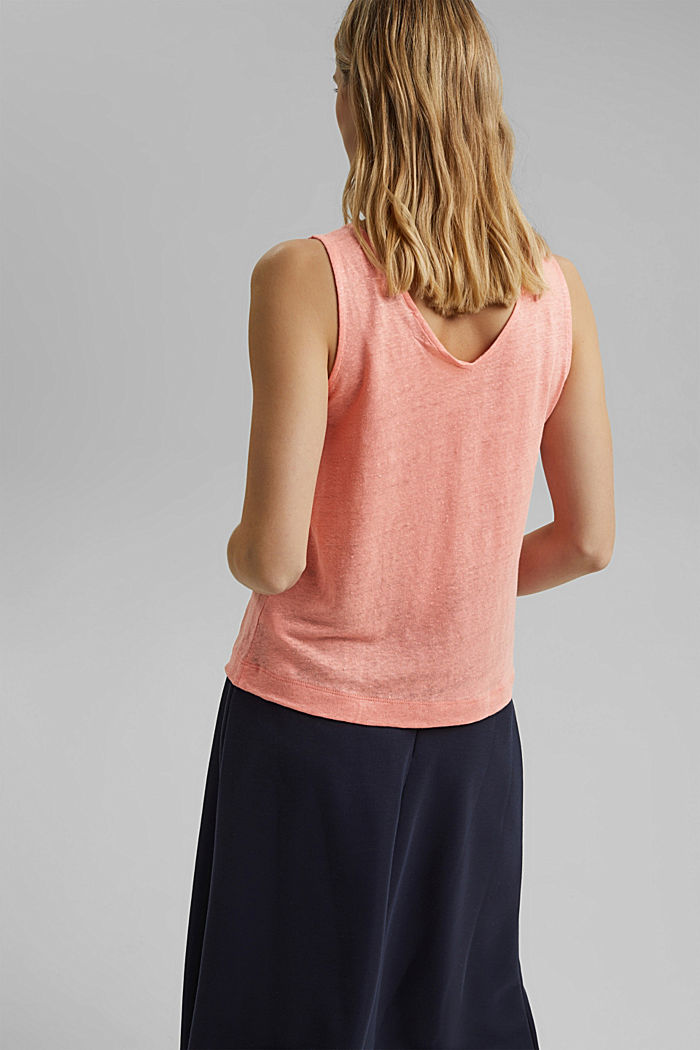 Made of 100% linen: V-neck sleeveless top, SALMON, detail image number 3