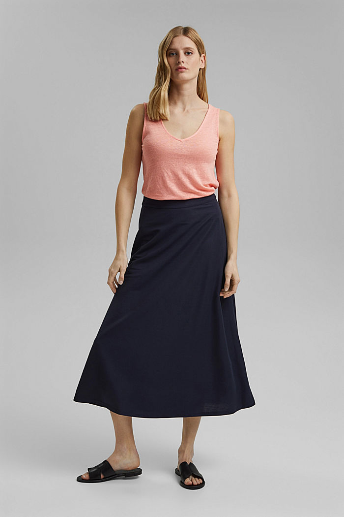Made of 100% linen: V-neck sleeveless top, SALMON, detail image number 1