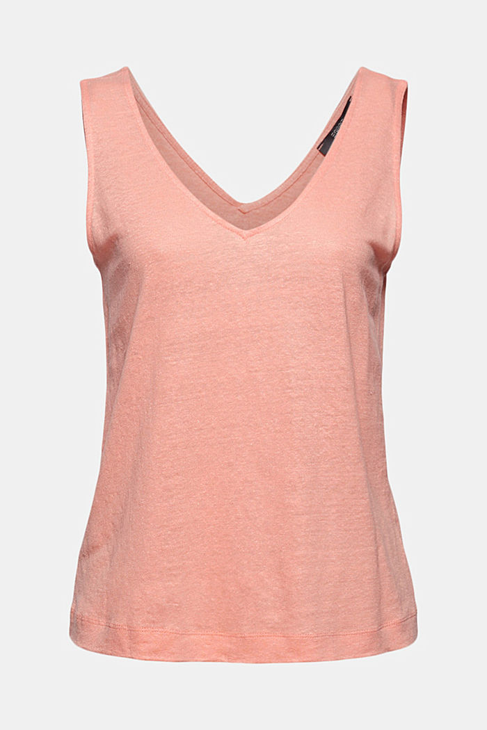 Made of 100% linen: V-neck sleeveless top, SALMON, detail image number 6